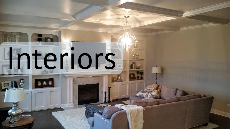 D.F. Painting paints Interior Painting. Beautifully painted living room with coffered ceiling and fully furnished